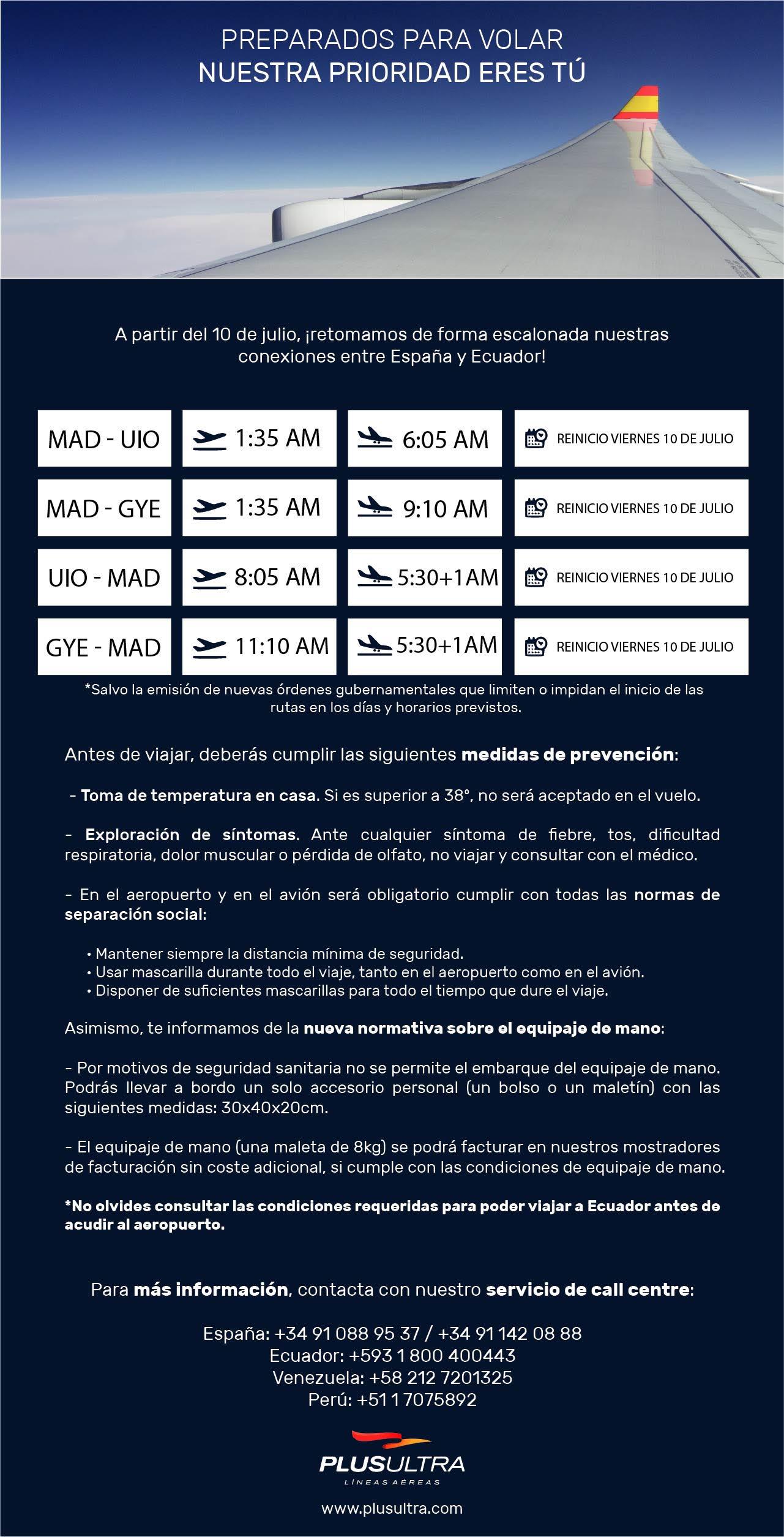 Reinicio vuelos Ecuador