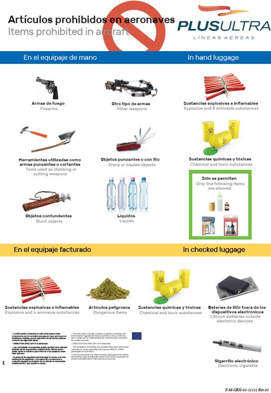 Cartel artíulos prohibidos y mercancías peligrosas